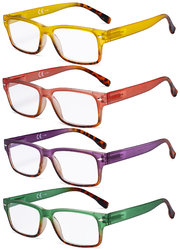 4 Pack Reading Glasses Stylish Rectangle Ladies Readers for Women Reading