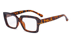 Stylish Reading Glasses Women - Oversized Square Readers Tortoise R9107