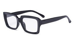 Stylish Reading Glasses Women - Oversized Square Readers Black R9107