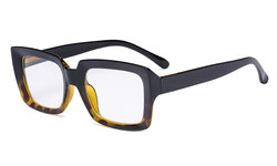 Stylish Reading Glasses Women - Oversized Square Readers Black/Tortoise R9107