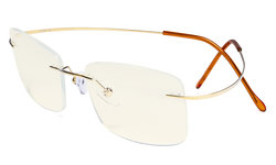 Rimless Blue Light Filter Computer Glasses Men - Cut UV Titanium Screen Protection Reading Glasses - Gold UVR1509