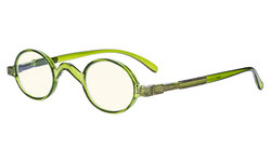 Blue Light Filter Glasses - Anti Glare Lightweight Computer Glasses - Small Round Blocking UV Rays Eyeglasses for Men Women with Spring Hinges - Green UVR077X
