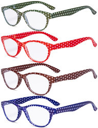 4 Pack Ladies Reading Glasses Polka Dots Cat-eye Design Readers for Women Reading R074P