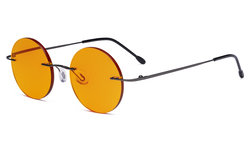 Titanium Blue light Blocking Glasses -Round Rimless Computer Readers Men Women with Orange Tinted Lens for Sleeping,Gunmetal DSWK26