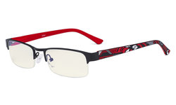 Blue Light Filter Computer Glasses - Anti Radiation Anti Glare Blocking UV Rays Reduces Eyestrain Half-rim Eyeglasses Men Women Black/Red UV17005