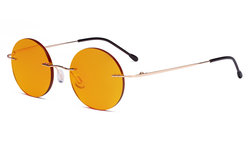 Titanium Blue light Blocking Glasses -Round Rimless Computer Readers Men Women with Orange Tinted Lens for Sleeping,Gold DSWK26