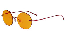Titanium Blue light Blocking Glasses -Round Rimless Computer Readers Men Women with Orange Tinted Lens for Sleeping,Red DSWK26