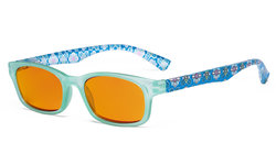 Ladies Blue Light Blocking Reading Glasses with Orange Tinted Filter Lens for Nighttime - Floral Print Colored Computer Readers Women - Blue DS029