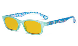 Ladies Blue Light Blocking Reading Glasses with Amber Tinted Filter Lens - Floral Print Colored Computer Readers Women - Blue HP029