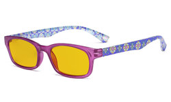Ladies Blue Light Blocking Reading Glasses with Amber Tinted Filter Lens - Floral Print Colored Computer Readers Women - Purple HP029
