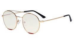 Ladies Blue Light Filter Glasses - Double Bridge Round Design Eyeglasses for Women Block Computer Screen UV Rays - Anti Glare Filter Reduce Eye Strain - Gold/Red  LX19029-BB40