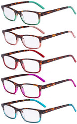 5 Pack Ladies Reading Glasses - Stylish Look Clear Vision Readers for Women Reading R111D