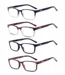 Eyekepper 4-Pack Readers Retro Spring Hinges Reading Glasses