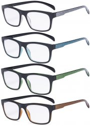 4 Pack Reading Glasses - Pattern Design Readers for Women Men Reading R047