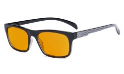 Blue Light Blocking Reading Glasses with Orange Tinted Filter Lens for Nighttime - Anti Screen Glare Blue Rays Computer Eyeglasses Pattern Design Women Men - Grey DSR047