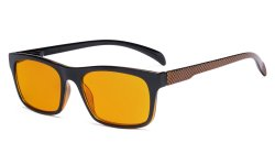 Blue Light Blocking Reading Glasses with Orange Tinted Filter Lens for Nighttime - Anti Screen Glare Blue Rays Computer Eyeglasses Pattern Design Women Men - Brown DSR047