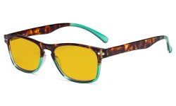 Blue Light Blocking Glasses with Amber Tinted Filter Lens - Design Computer Eyeglasses Women - Tortoise/Green HP046D