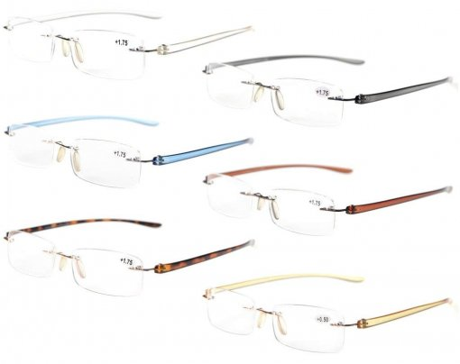 Reading Glasses Rimless Readers 6 Pairs Mix Color R14001-6pc-Mix