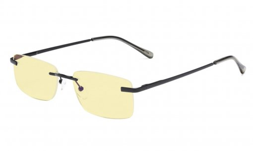 Computer Reading Glasses Rimless Yellow Tinted Lens Black TMCG1612