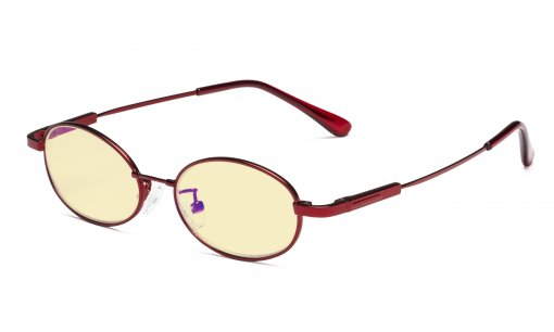 Anti Blue Light Computer Glasses for Girls Oval Memory Frame Red TMK1803