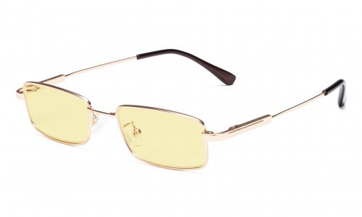 Computer Glasses Blue Blocking for Kids Rectangle Memory Frame-Yellow Tinted Lens Gold TMK1802