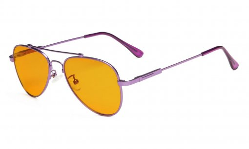 Computer Glasses for 5-12 Years Girls Anti Blue Light Pilot Style Memory Frame Purple DSK1805