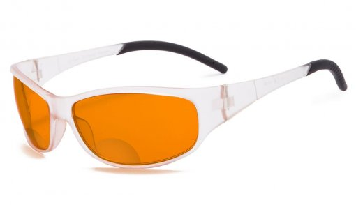 Blue Blocking Amber Bifocal Glasses for Sleep - Nighttime Readers - Special Orange Tinted Glasses Transparent Frame SGS080