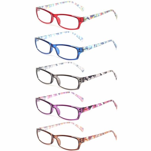 Eyekepper 5 Pairs Fashion Ladies Reading Glasses Spring Hinge Pattern Design Readers Women