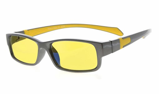Computer Reading Glasses Anti Blue Light More than 94% TR90 Frame Yellow Tinted Lens Grey Yellow CGXM02