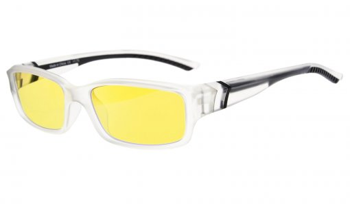 Computer Reading Glasses 94% Blue Light Blocking Yellow Tinted Lens Clear-Black CGXM01