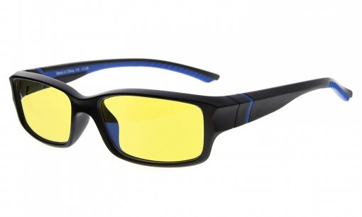 Computer Reading Glasses 94% Blue Light Blocking Yellow Tinted Lens Black-Blue CGXM01