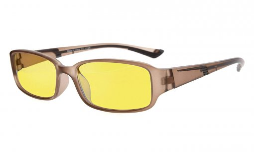 Computer Reading Glasses Anti Blue Light Yellow Tinted Lens for Electronic User Brown CGXM03
