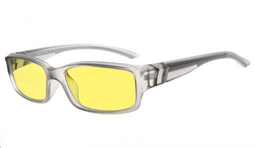 Computer Reading Glasses 94% Blue Light Blocking Yellow Tinted Lens Grey CGXM01