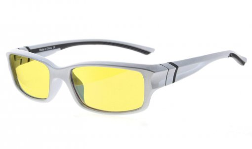 Computer Reading Glasses 94% Blue Light Blocking Yellow Tinted Lens Silver-Black CGXM01