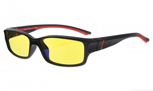 Computer Reading Glasses 94% Blue Light Blocking Yellow Tinted Lens Black-Red CGXM01