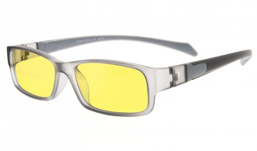 Computer Reading Glasses Anti Blue Light More than 94% TR90 Frame Yellow Tinted Lens Grey CGXM02
