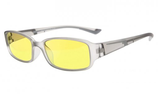Computer Reading Glasses Anti Blue Light Yellow Tinted Lens for Electronic User Grey CGXM03