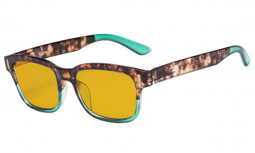 Stylish Computer Reading Glasses with 80% Blue Blocking Visible Coating Tortoise Green CGT1802
