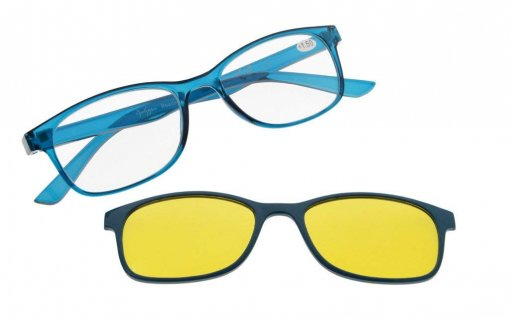 Reading Glasses With blue light blocking Photochromic Polarized Lens Clip on Blue BSR136
