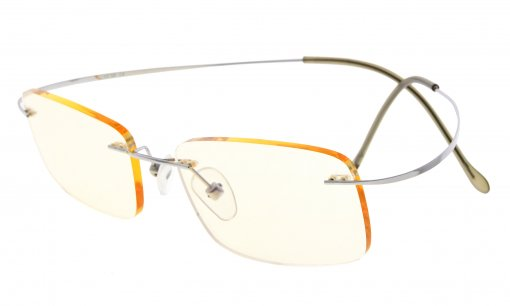 Computer Reading Glasses UV Protection Titanium Rimless Stylish Readers Silver CG1508