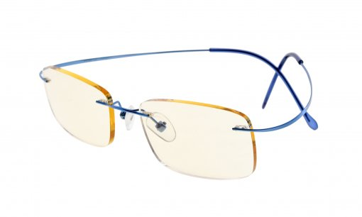 Computer Reading Glasses UV Protection Titanium Rimless Stylish Readers Blue CG1508