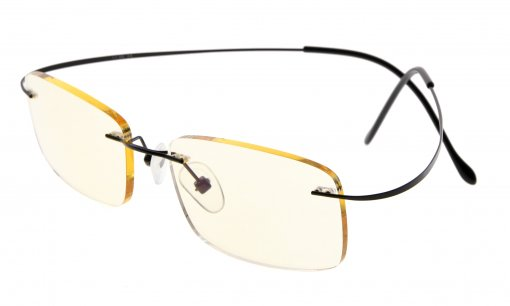 Computer Reading Glasses UV Protection Titanium Rimless Stylish Readers Black CG1508