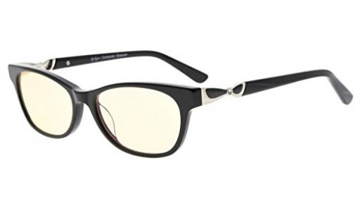 Computer Reading Glasses UV Protection Anti Blue Light Yellow Tinted Lens Quality Spring Hinge Black CGA0073