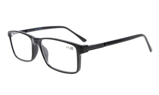 Reading Glasses Retro Rectangle TR90 Frame Spring Hinges  Readers Women Men Black TR007