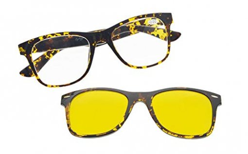 Reading Glasses With Blue light blocking Photochromic Polarized Lens Sun Clip Tortoise BSR135