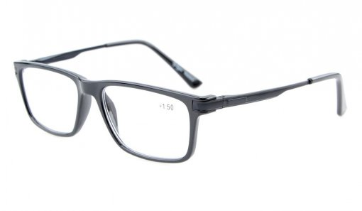 Reading Glasses Classical Quality TR90 Frame with Spring Hinges Readers Women Men Black TR005