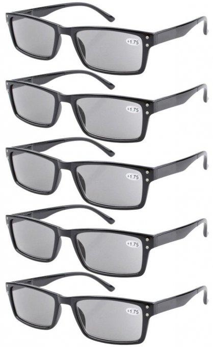 Reading Glasses 5-Pack Retro Style Sunshine Readers with Spring Hinges Grey Lens R057-5pcs