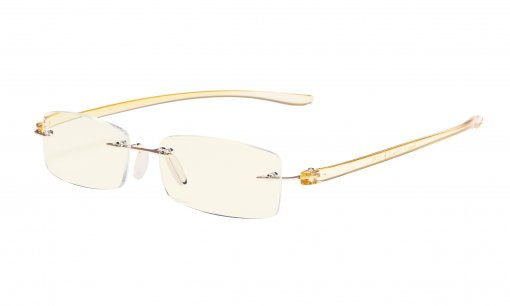 Computer Reading Glasses Blue Light Filter Rimless Readers UV Protection Yellow Arm UVCG1