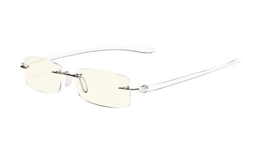 Computer Reading Glasses Blue Light Filter Rimless Readers UV Protection Transparent Arm UVCG1