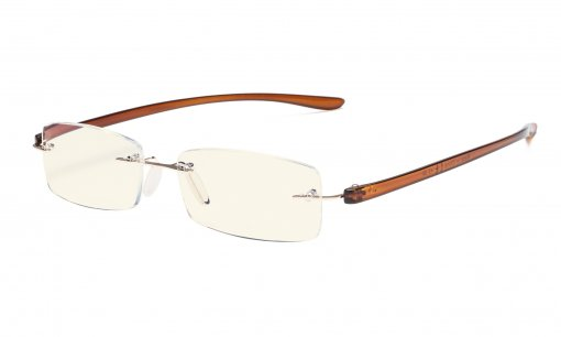 Computer Reading Glasses Blue Light Filter Rimless Readers UV Protection Gold-Brown Arm UVCG1